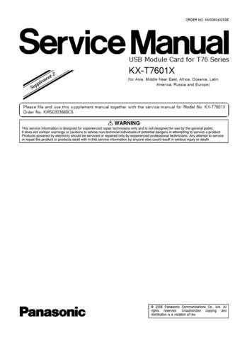 Panasonic T7601X_SUP2 Manual by download Mauritron #301781