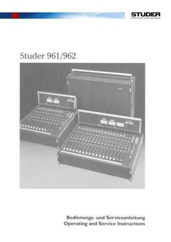 Studer 961-962_Service Manual & Operating Guide by download Mauritron #313167