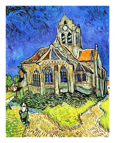 Church at Auvers by artist Vincent Van Gogh. print painting unframed canvas