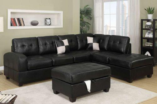 Black Sofa Couch Leathe Sofa Sectional Sofa Furniture 2 Piece Living room set