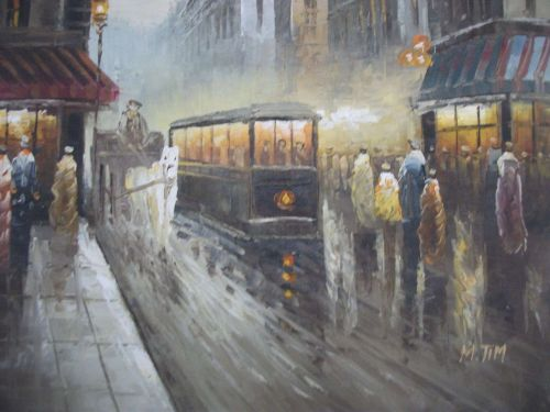Old time City-art painting on canvas. unframed