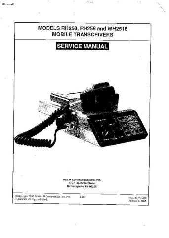 Relm RH250 Mobile Transceiver Service Manual by download Mauritron #329734