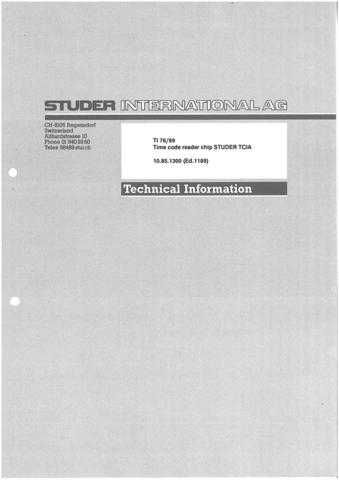 Studer TI_76-89_E_TC_Rdr_Chip_TCIA(2) by download Mauritron #313137