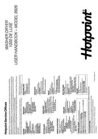 Hotpoint 1000 De Luxe 9926 Washer Operating Guide by download Mauritron #307391