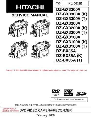 Hitachi DZMV100EAU- Service Manual by download Mauritron #285289