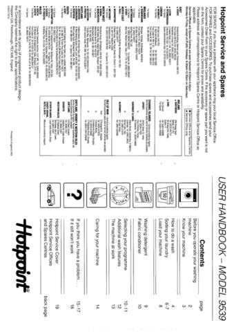 Hotpoint 9539 Washer Operating Guide by download Mauritron #307427
