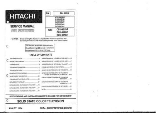 Hitachi CLU-682GJ-2 Service Manual by download Mauritron #288943