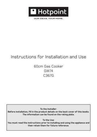 Hotpoint GW74 C367G 19505687101 Operating Guide by download Mauritron #312003