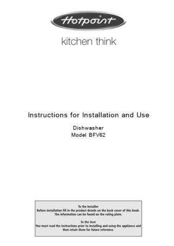Hotpoint BFV62 Dishwasher Operating Guide by download Mauritron #313509