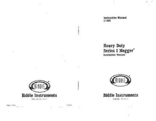 Biddle Heavy Duty Series 1 AVOger Operating Guide by download Mauritron #309667