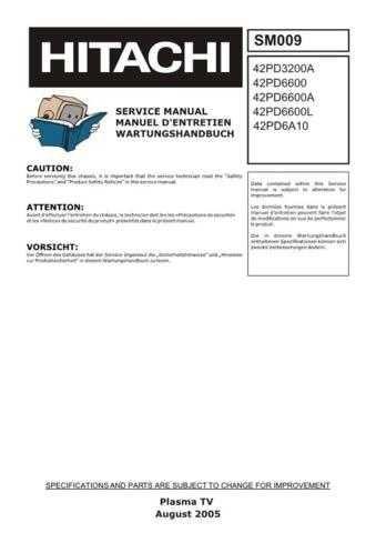 Hitachi SM009 Service Manual by download Mauritron #331949