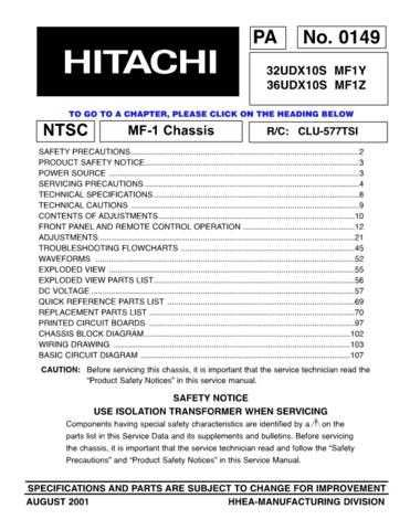 Hitachi 32UDX10S Service Manual by download Mauritron #284754
