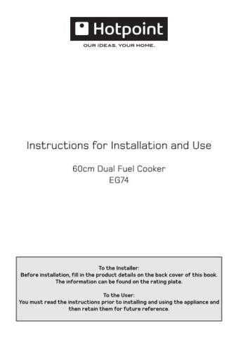 Hotpoint EG74 19505756000 Operating Guide by download Mauritron #311979