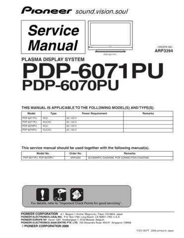 Panasonic PDP-6071PU-6070PU Manual by download Mauritron #301179