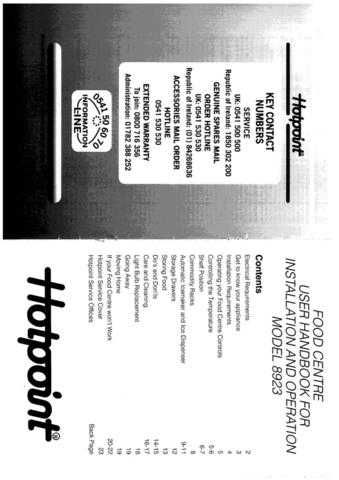 Hotpoint 8923 Refrigeration Operating Guide by download Mauritron #313372