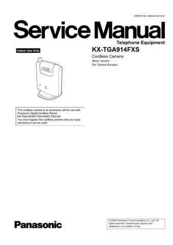 Panasonic TGA914FX Manual by download Mauritron #302316