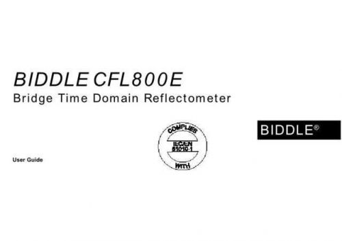 Biddle CFL-800E Operating Guide by download Mauritron #309587
