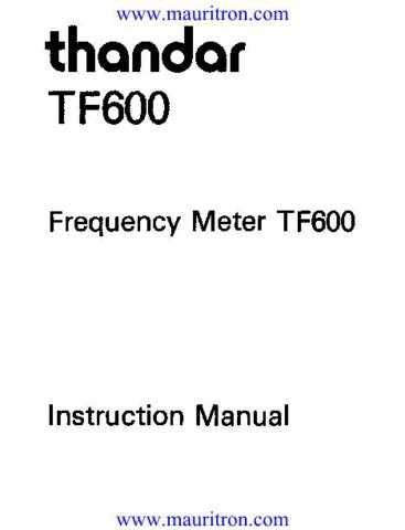 Thurlby TF600-User-Manual by download Mauritron #306604