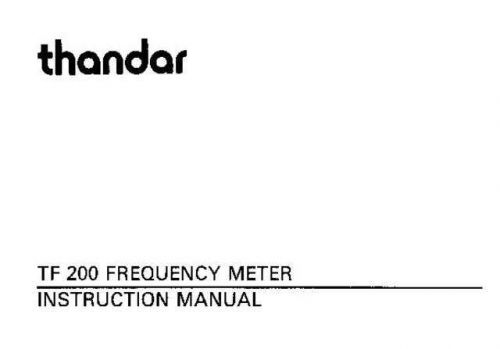 Thandar TF200 Frequency Meter User Guide by download Mauritron #306592
