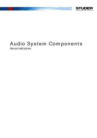 Studer AudioSystemComponents_Serv_E by download Mauritron #313109
