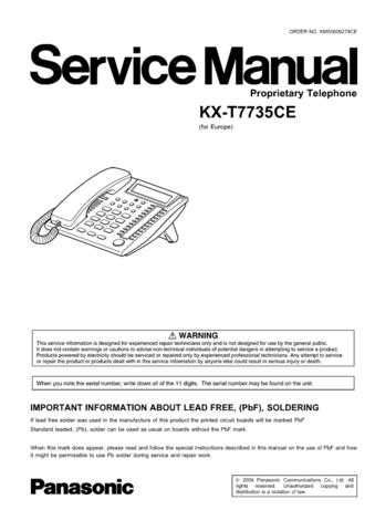 Panasonic T7735CE Manual by download Mauritron #301801