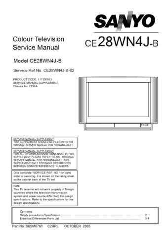 Sanyo. CE28WN4J-B-02 Manual by download Mauritron #312622