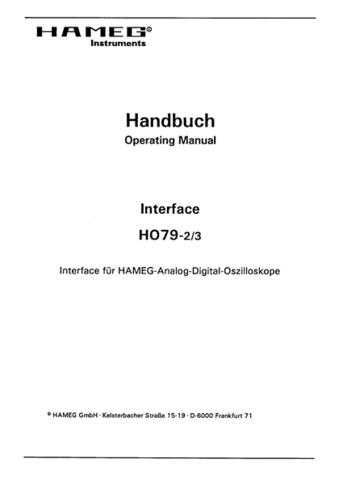 Hameg HO79-2 79-3 Operating Guide by download Mauritron #307305