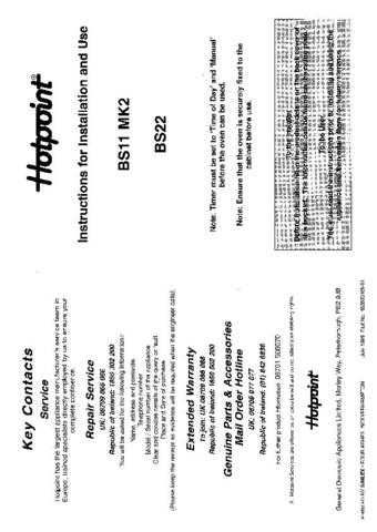 Hotpoint HBBS11MK2 Operating Guide by download Mauritron #312076
