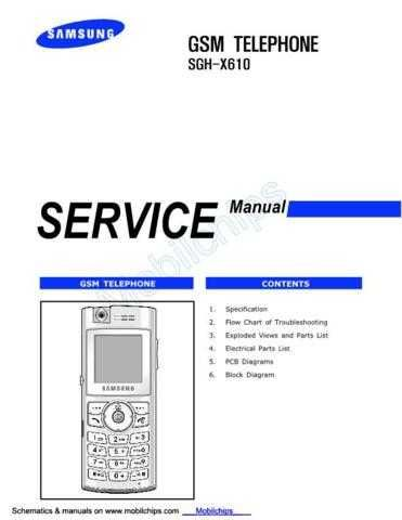 Samsung SGH-X610 Mobile Phone Service Manual by download Mauritron #306471