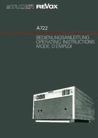 Revox A722 Operating Guide by download Mauritron #312193