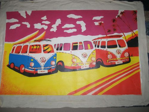 Volkswagon Beach Print painting on canvas. Print but hand finished.unframed