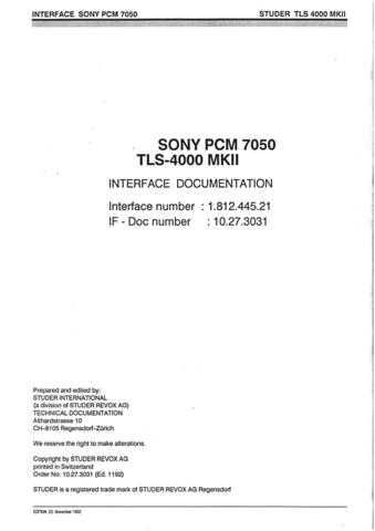 Studer 10.27.3031_TLS4k_MkII_IF_Sony_PCM-7050 by download Mauritron #313153