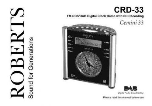 Roberts Gemini 33 DAB Radio Operating Instruction Guide by download Mauritron #306668