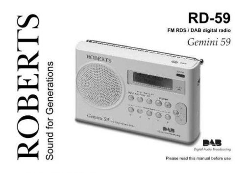 Roberts Gemini 59 DAB Radio Operating Instruction Guide by download Mauritron #306673