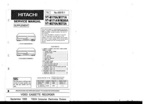 Hitachi VT-M500 Service Manual by download Mauritron #287372