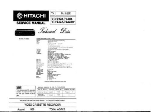 Hitachi VTF390A Service Manual by download Mauritron #285711