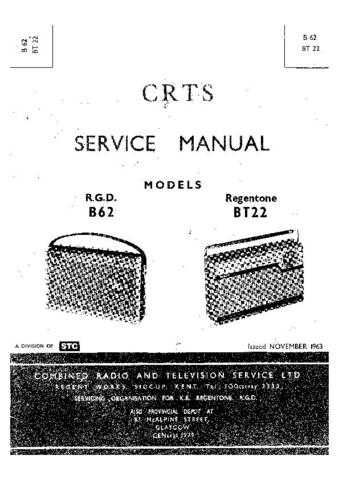 RGD. BT22. Vintage Wireless. Service Data. by download Mauritron #306204