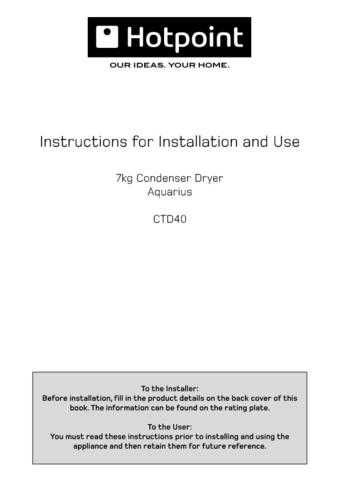 Hotpoint CTD40 After 180406 19504265105 Dryer Operating Guide by download Mauritron #