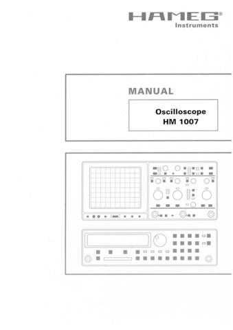 Hameg HM1007 Operating Guide by download Mauritron #307134