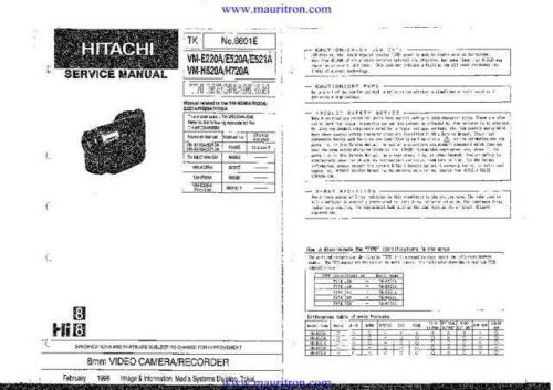 Hitachi VM-H720A-2 Technical Service Manual Schematic CDC-2134 DVD by download Maurit