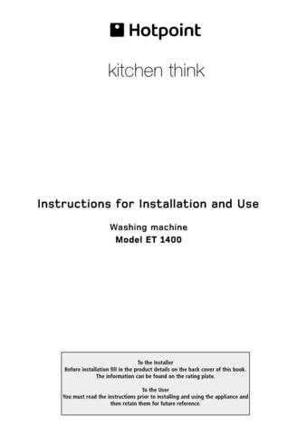 Hotpoint ET-1400 Washer Operating Guide by download Mauritron #307538