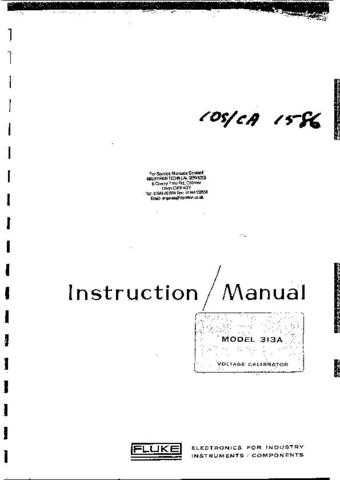 Fluke 313A Calibrator Instructions. by download Mauritron #331766