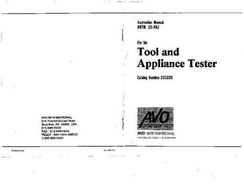 Megger AVTM-21-83J Operating Guide by download Mauritron #310140