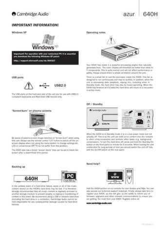 Cambridge Audio Azur640HUserManualImportantInformation by download Mauritron #311818
