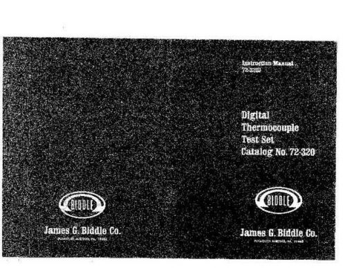 Biddle 720360 Operating Guide by download Mauritron #309406