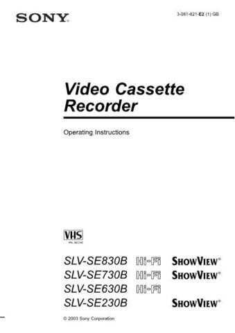 Sony SLVSE230B plus others Operating Manual by download Mauritron #306569