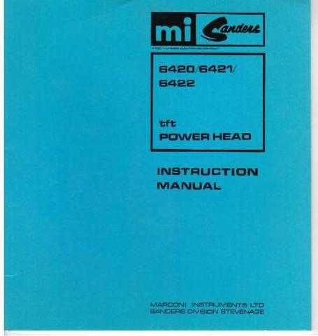 Marconi Sanders TFT 6420 6421 6422 Power Head by download Mauritron #337635