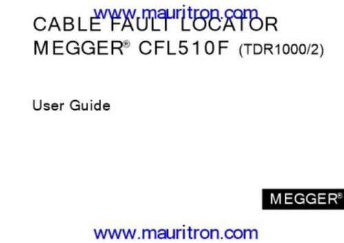 Megger TDR-1000 Test Equipment Instruction Operating Guide Manual by download Mauritr