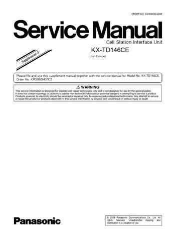 Panasonic TD146CE_SUP5 Manual by download Mauritron #302162