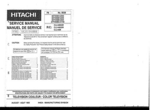 Hitachi 27FX90BC-C735 Service Manual by download Mauritron #287700
